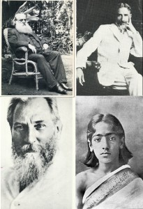 Archival photographs of H.S. Olcott, A.P. Warrington, C.W. Leadbeater and a very Young Krishnamurti.